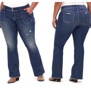Torrid Mid Rise Flare Jeans Raw Hem Distressed